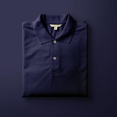 Navy Blue - Polo Neck Half Sleeve T-shirt