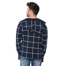 Load image into Gallery viewer, Navy Blue Hooded Men's Full Sleeve Printed Cotton Shrug Cardigan