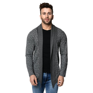 Charcoal Men's Full Sleeve Printed Cotton Shrug Cardigan