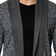 Load image into Gallery viewer, Charcoal Men's Full Sleeve Printed Cotton Shrug Cardigan