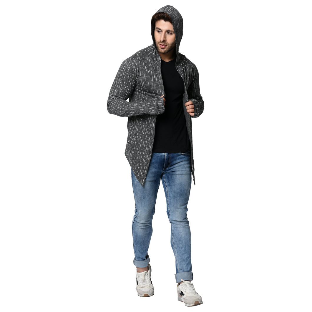 Hooded Charcoal Men's Full Sleeve Printed Stripes Cotton Shrug Cardigan