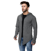 Load image into Gallery viewer, Hooded Charcoal Men's Full Sleeve Printed Stripes Cotton Shrug Cardigan