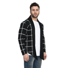 Load image into Gallery viewer, Black Checked Men's Full Sleeve Cotton Cardigan Shrug