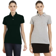 Load image into Gallery viewer, Black : Milange Grey - Polo Neck Short Sleeve T-shirts Combo