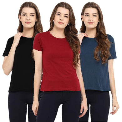Black : Navy Blue : Red - Crew Neck Short Sleeve T-Shirts Combo