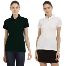 Load image into Gallery viewer, Black : White - Polo Neck Short Sleeve T-shirts Combo