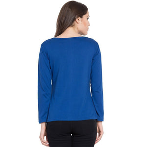 Royal Blue Crew Neck Long Sleeve T-Shirts