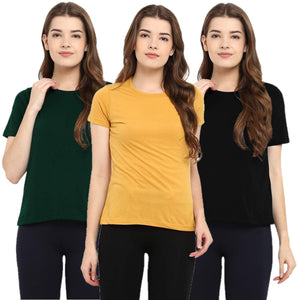 Olive Green : Black : Yellow - Crew Neck Short Sleeve T-Shirts Combo