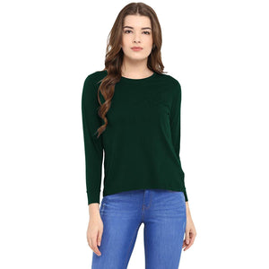 Olive Green Crew Neck Long Sleeve T-Shirt