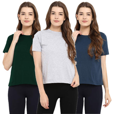 Olive Green : Milange Grey : Navy Blue - Crew Neck Short Sleeve T-Shirts Combo