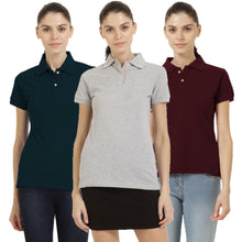 Load image into Gallery viewer, Milange Grey : Navy Blue : Maroon - Polo Neck Short Sleeve T-shirts Combo
