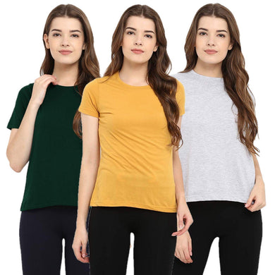 Milange Grey : Yellow : Olive Green - Crew Neck Short Sleeve T-Shirts Combo