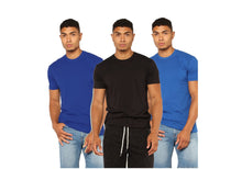 Load image into Gallery viewer, Black : Navy Blue : Royal Blue Pack Of 3 Solid T-shirts