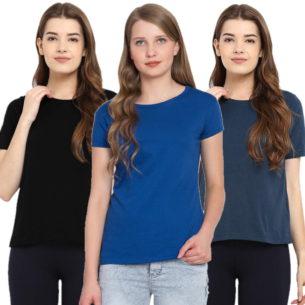 Navy Blue : Black : Royal Blue : Navy Blue - Crew Neck Short Sleeve T-Shirts Combo