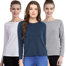 Load image into Gallery viewer, Navy Blue : Milange Grey : White- Crew Neck Long Sleeve T-Shirts Combo
