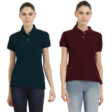 Load image into Gallery viewer, Navy Blue : Maroon - Polo Neck Short Sleeve T-shirts Combo