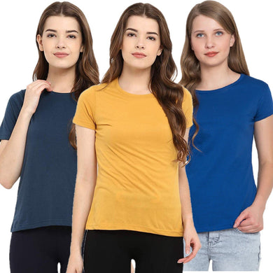 Navy Blue : Yellow : Royal Blue - Crew Neck Short Sleeve T-Shirts Combo