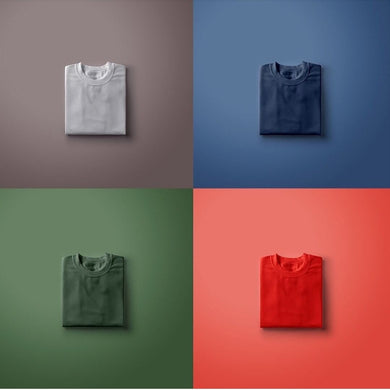 Grey | Navy Blue | Olive Green | Red-Pack of 4 Solid T-Shirts