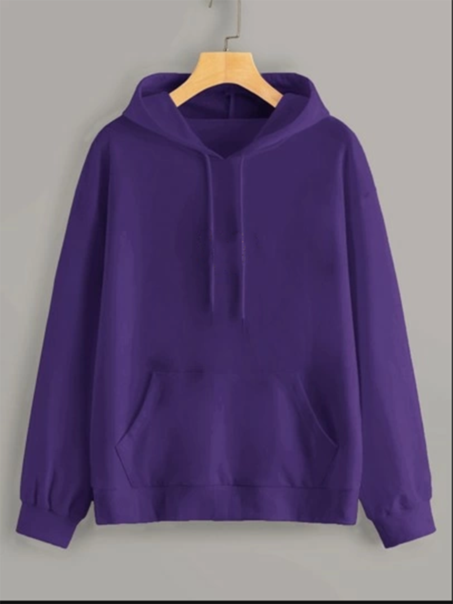 Purple Full Sleeve Unisex Hoodie with Kangaroo Pocket