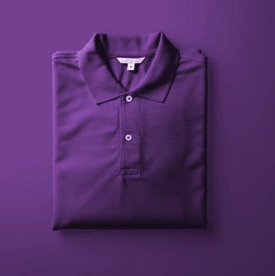 Purple - Polo Neck Half Sleeve T-shirt