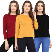 Load image into Gallery viewer, Red : Black : Yellow - Crew Neck Long Sleeve T-Shirts Combo
