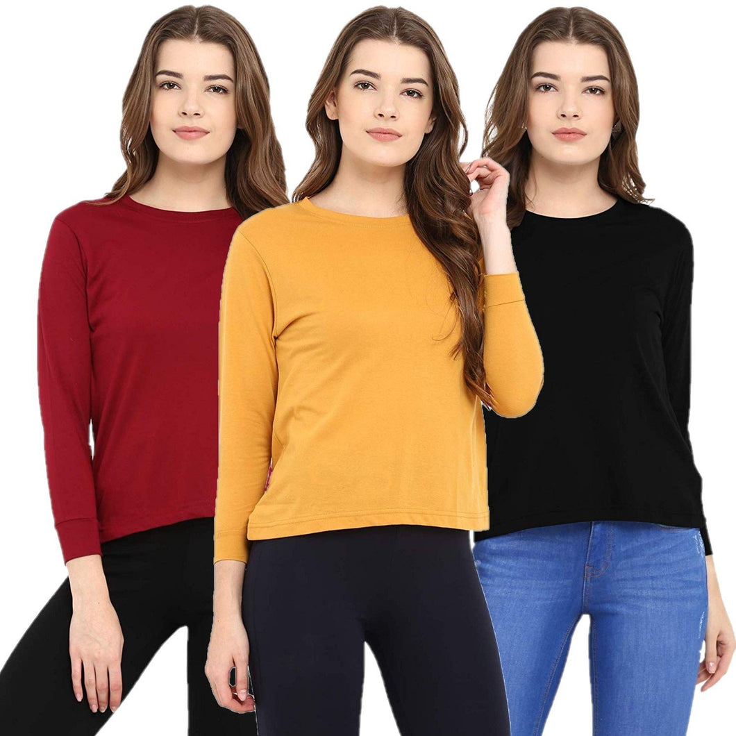 Red : Black : Yellow - Crew Neck Long Sleeve T-Shirts Combo