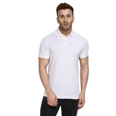 White - Polo Neck Half Sleeve T-shirt