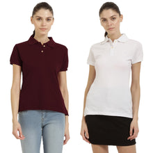 Load image into Gallery viewer, White : Maroon - Polo Neck Short Sleeve T-shirts Combo
