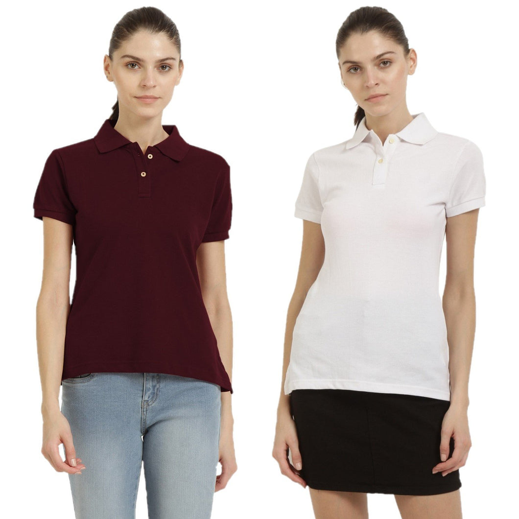 White : Maroon - Polo Neck Short Sleeve T-shirts Combo