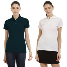 Load image into Gallery viewer, White : Navy Blue - Polo Neck Short Sleeve T-shirts Combo