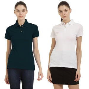 White : Navy Blue - Polo Neck Short Sleeve T-shirts Combo