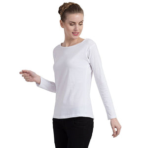 White Crew Neck Long Sleeve T-Shirt