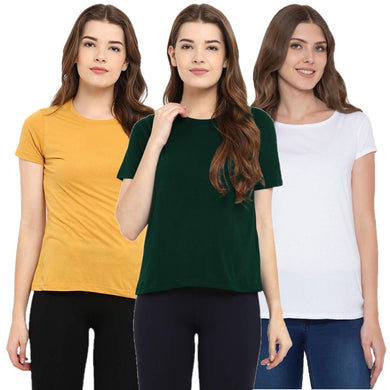 White : Yellow : Olive Green - Crew Neck Short Sleeve T-Shirts Combo