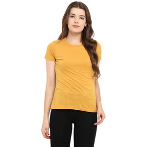 Yellow Crew Neck Short Sleeve T-shirt