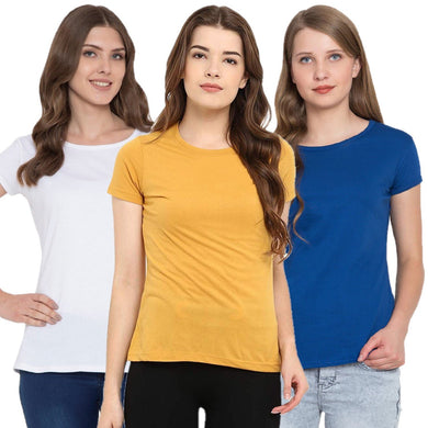 Yellow : White : Royal Blue - Crew Neck Short Sleeve T-Shirts Combo
