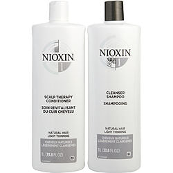 System 1 Scalp Therapy Conditioner And Cleanser Shampoo For Natural Hair With Light Thinning Liter Duo