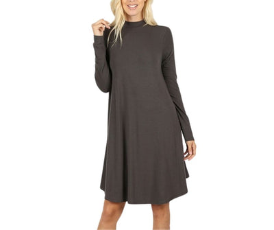 Turn Down My Mock Neck For What? Long Sleeve Premium Dress Ash Gray