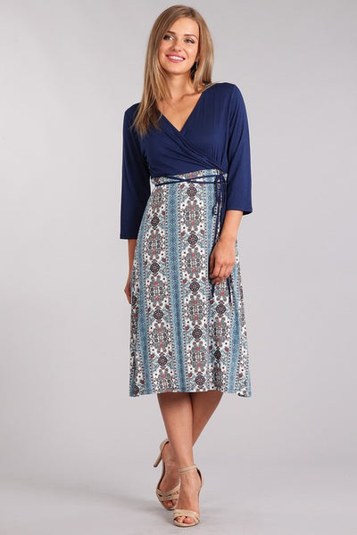 Flowery and Flirty Is my Middle Name Blue Wrap Maxi Dress