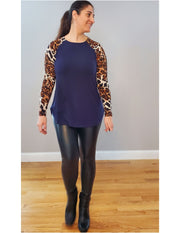 Meow I'm a Leopard Silky Smooth Premium Top Navy