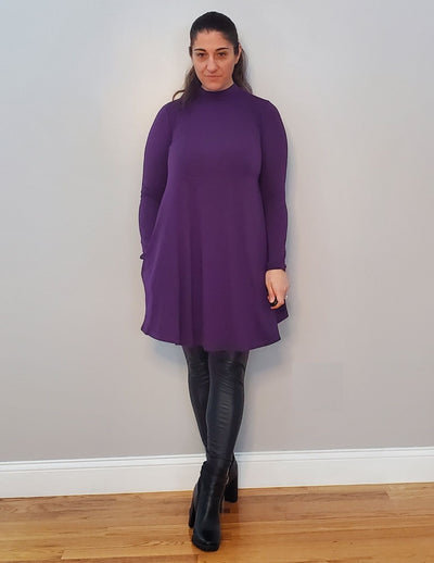 Turn Down My Mock Neck For What? Long Sleeve Premium Dress Posh Purple