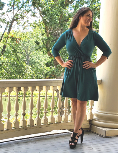 Are You Touching Me Buttery Soft Wrap Dress Emerald Green