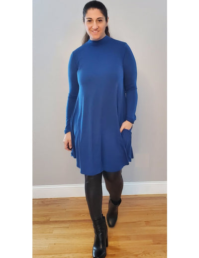 Turn Down My Mock Neck For What? Long Sleeve Premium Dress Brilliant Sapphire