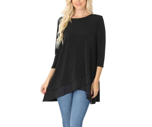 Oh I Still Got It Flow Point Blouse Black