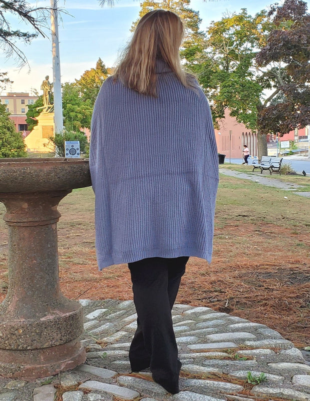 Curve My Everyday Superhero Cape Poncho Style Sweater Light Gray Blue - Cement