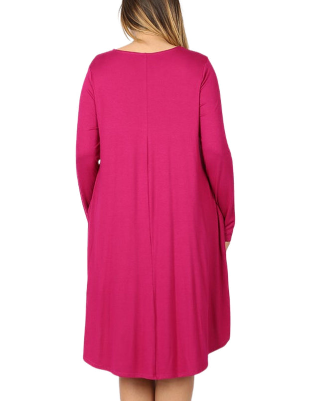 Curve I'm So Flattered You're Looking at Me A Line Dress Magenta Plus Size