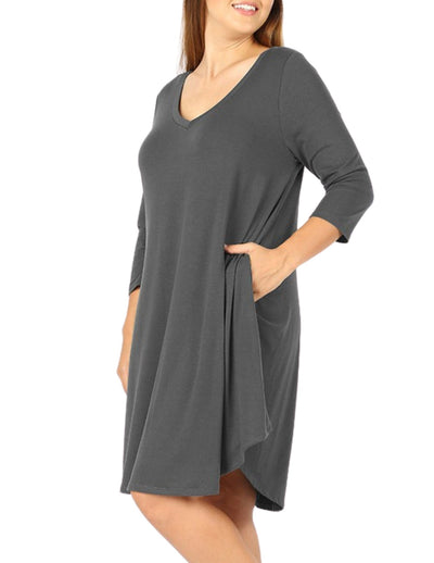 Curve I'm So Flattered You're Looking at Me A Line Dress Ash Gray V Neck Plus Size