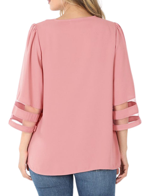 Elegant But Sassy Bell Top Rose Pink