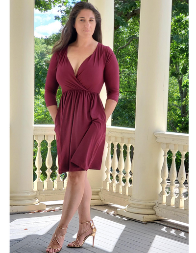 Are You Touching Me Buttery Soft Wrap Dress Deep Burgundy