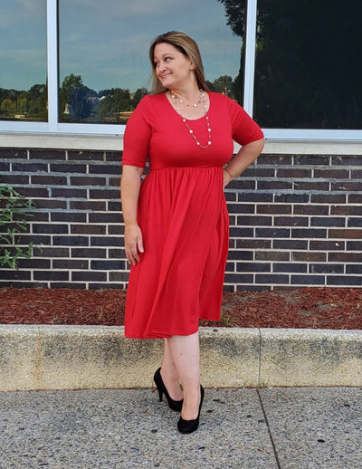 Anytime You'll Find Me Comfy Waist Dress Ruby