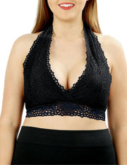 Tell Me A Secret Scalloped Lace Halter Bralette Curve Black